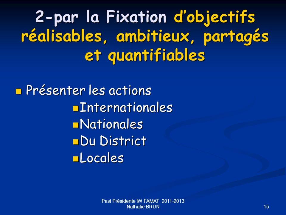 15 Past Présidente IW FAMAT 2011-2013 Nathalie BRUN 2-par la Fixation dobjectifs réalisables, ambitieux, partagés et quantifiables Présenter les actio