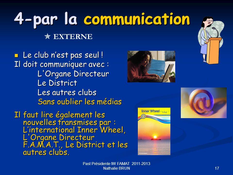 17 4-par la communication Le club nest pas seul ! Le club nest pas seul ! Il doit communiquer avec : L'Organe Directeur Le District Les autres clubs S