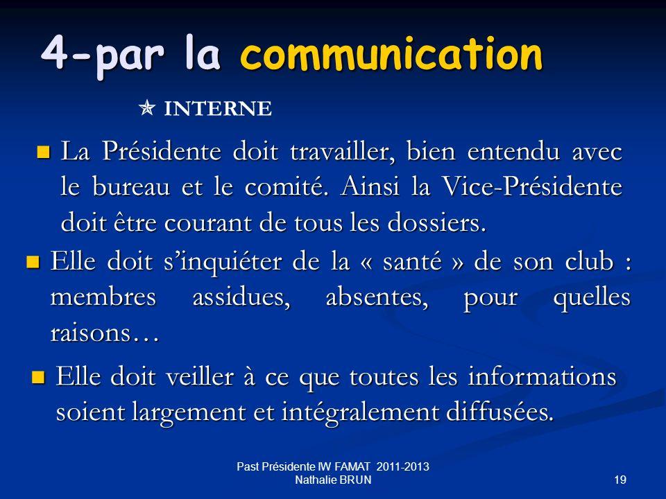 19 La Présidente doit travailler, bien entendu avec le bureau et le comité. Ainsi la Vice-Présidente doit être courant de tous les dossiers. La Présid