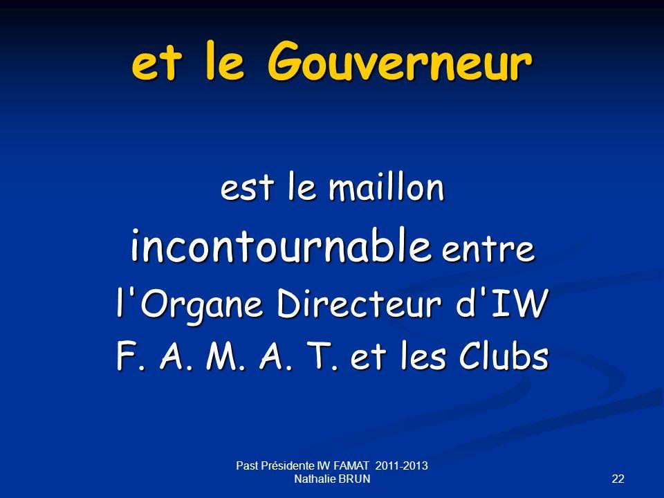 22 et le Gouverneur est le maillon incontournable entre l'Organe Directeur d'IW F. A. M. A. T. et les Clubs Past Présidente IW FAMAT 2011-2013 Nathali