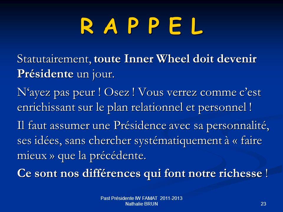 23 R A P P E L Statutairement, toute Inner Wheel doit devenir Présidente un jour. Nayez pas peur ! Osez ! Vous verrez comme cest enrichissant sur le p