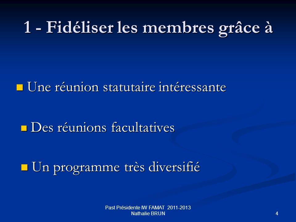 4 1 - Fidéliser les membres grâce à Une réunion statutaire intéressante Une réunion statutaire intéressante Un programme très diversifié Un programme