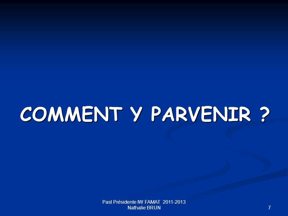 7 COMMENT Y PARVENIR ? Past Présidente IW FAMAT 2011-2013 Nathalie BRUN