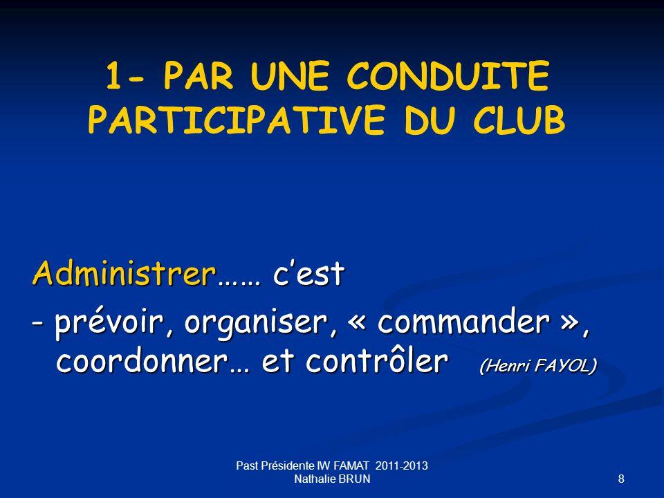8 Administrer…… cest - prévoir, organiser, « commander », coordonner… et contrôler (Henri FAYOL) 1- PAR UNE CONDUITE PARTICIPATIVE DU CLUB Past Présid