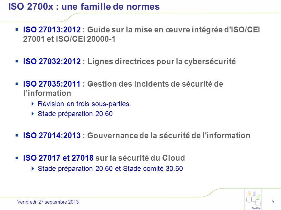 Jeudi 4 juillet 2013 ISO 2700x : une famille de normes ISO 27013:2012 : Guide sur la mise en œuvre intégrée d'ISO/CEI 27001 et ISO/CEI 20000-1 ISO 270