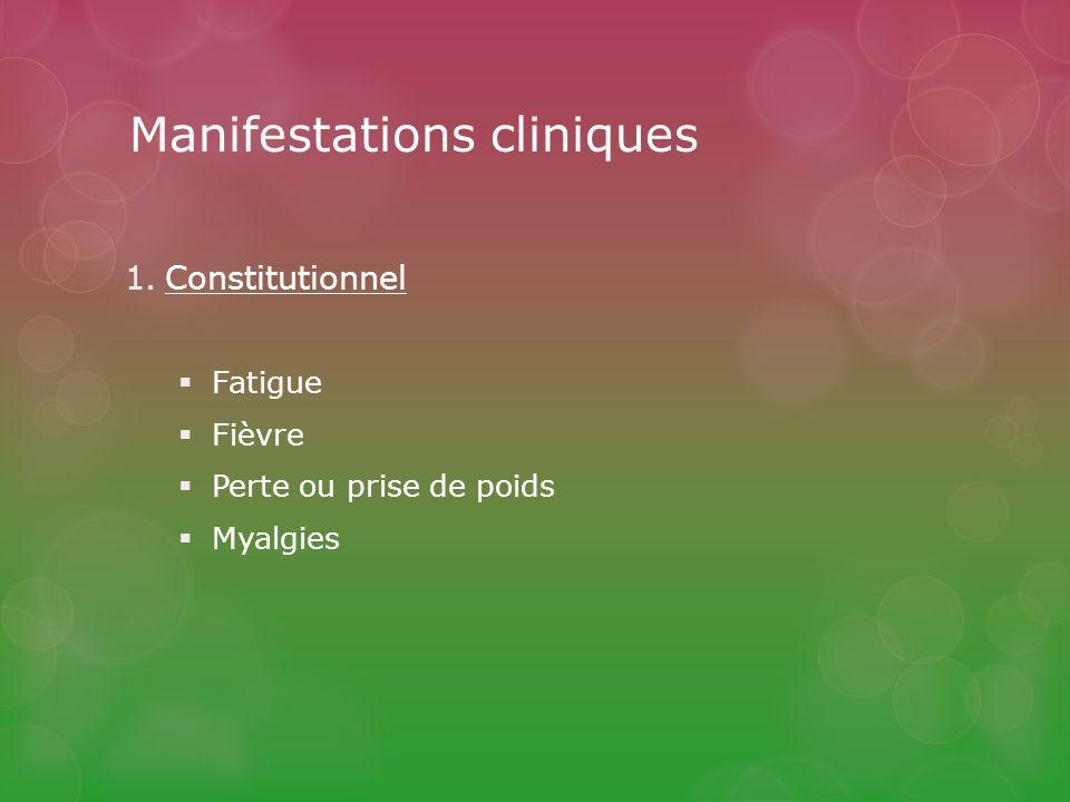 Manifestations cliniques 1.Constitutionnel Fatigue Fièvre Perte ou prise de poids Myalgies