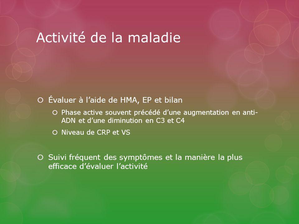 Activité de la maladie Évaluer à laide de HMA, EP et bilan Phase active souvent précédé dune augmentation en anti- ADN et dune diminution en C3 et C4 Niveau de CRP et VS Suivi fréquent des symptômes et la manière la plus efficace dévaluer lactivité