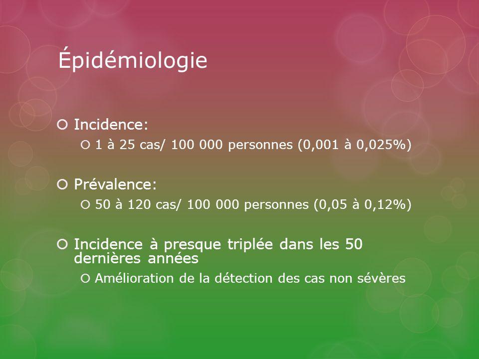 Épidémiologie Incidence: 1 à 25 cas/ 100 000 personnes (0,001 à 0,025%) Prévalence: 50 à 120 cas/ 100 000 personnes (0,05 à 0,12%) Incidence à presque triplée dans les 50 dernières années Amélioration de la détection des cas non sévères