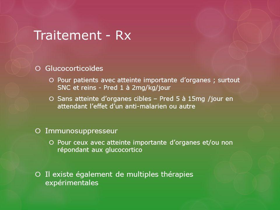 Glucocorticoïdes Pour patients avec atteinte importante dorganes ; surtout SNC et reins - Pred 1 à 2mg/kg/jour Sans atteinte dorganes cibles – Pred 5 à 15mg /jour en attendant leffet dun anti-malarien ou autre Immunosuppresseur Pour ceux avec atteinte importante dorganes et/ou non répondant aux glucocortico Il existe également de multiples thérapies expérimentales Traitement - Rx