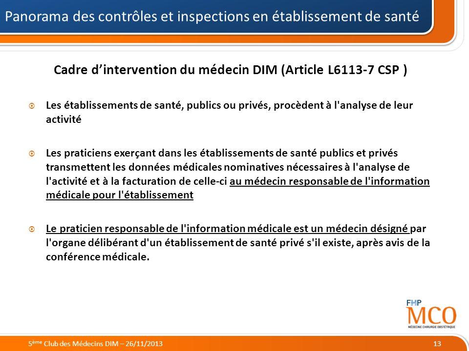 21/05/2014 Cadre dintervention du médecin DIM (Article L6113-7 CSP ) Les établissements de santé, publics ou privés, procèdent à l'analyse de leur act