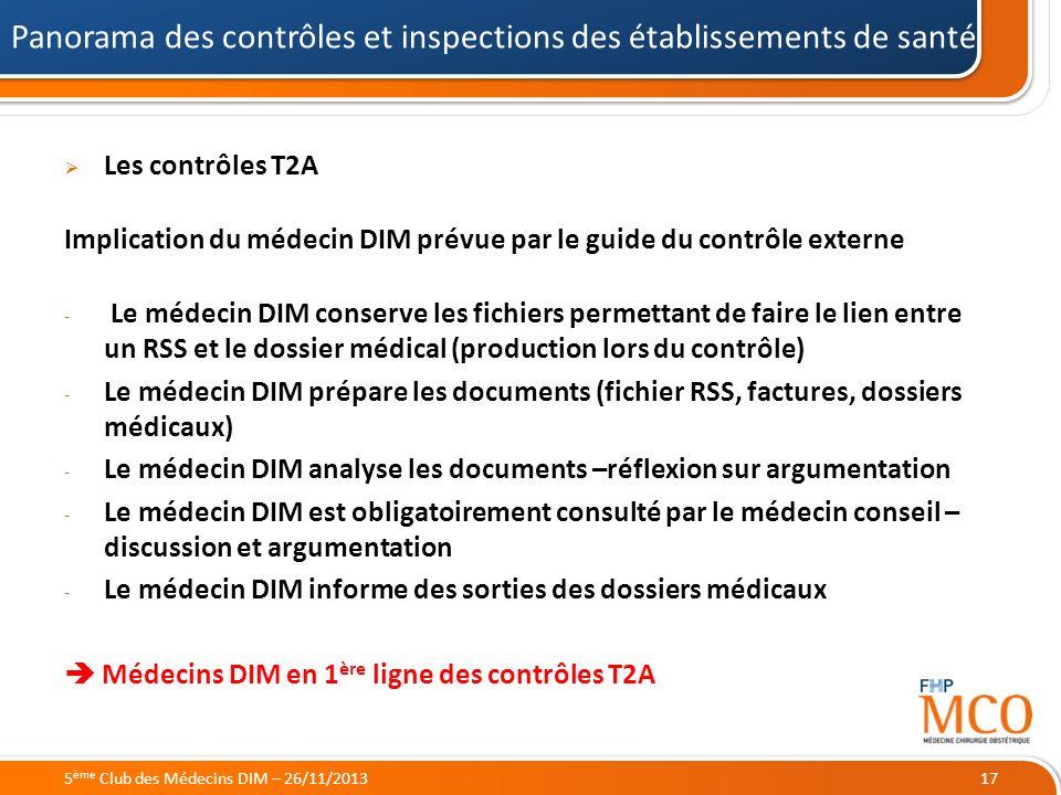 21/05/2014 Les contrôles T2A Implication du médecin DIM prévue par le guide du contrôle externe - Le médecin DIM conserve les fichiers permettant de f