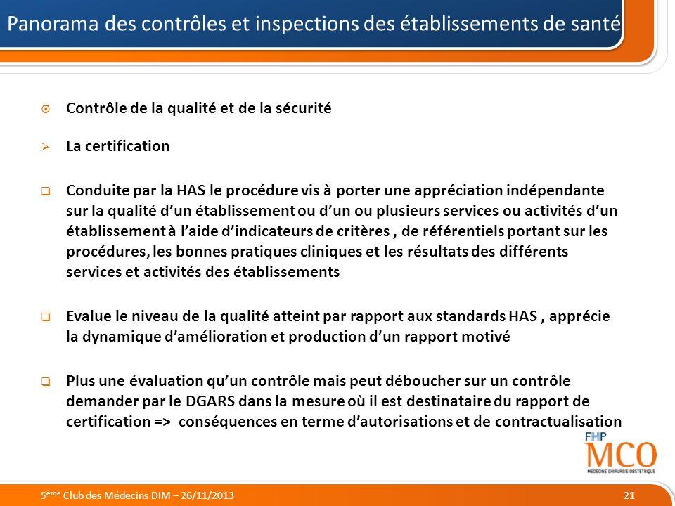 21/05/2014 Contrôle de la qualité et de la sécurité La certification Conduite par la HAS le procédure vis à porter une appréciation indépendante sur l