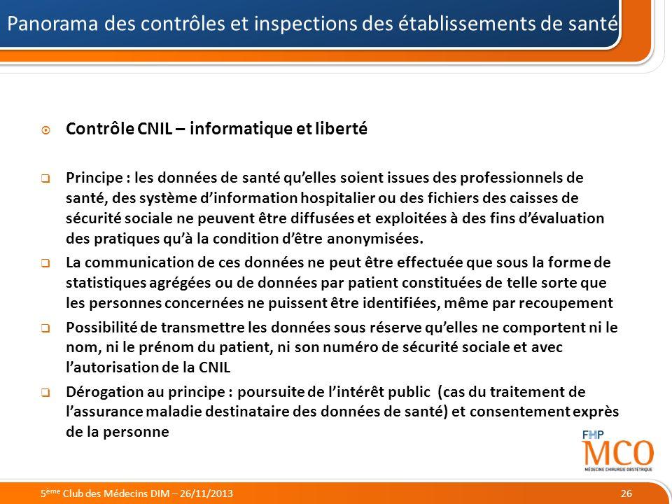 21/05/2014 Contrôle CNIL – informatique et liberté Principe : les données de santé quelles soient issues des professionnels de santé, des système dinf