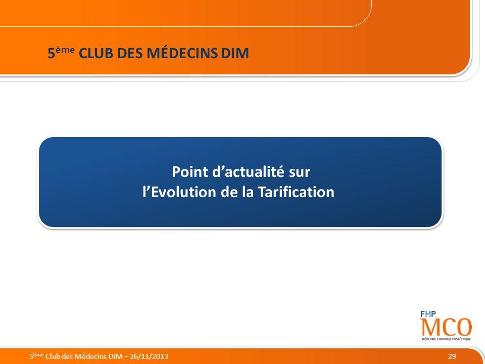 21/05/2014 29 Point dactualité sur lEvolution de la Tarification 5 ème CLUB DES MÉDECINS DIM 5 ème Club des Médecins DIM – 26/11/2013