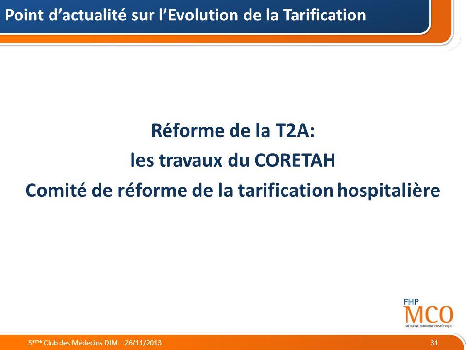 21/05/2014 Réforme de la T2A: les travaux du CORETAH Comité de réforme de la tarification hospitalière Point dactualité sur lEvolution de la Tarificat