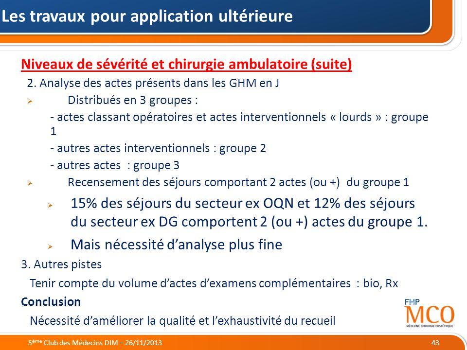21/05/2014 Niveaux de sévérité et chirurgie ambulatoire (suite) 2. Analyse des actes présents dans les GHM en J Distribués en 3 groupes : - actes clas