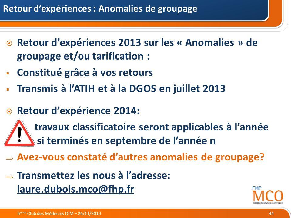 21/05/2014 Retour dexpériences 2013 sur les « Anomalies » de groupage et/ou tarification : Constitué grâce à vos retours Transmis à lATIH et à la DGOS