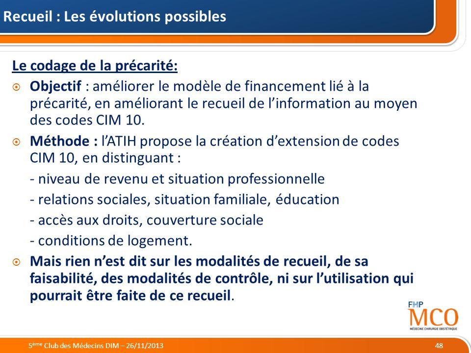 21/05/2014 Recueil : Les évolutions possibles Le codage de la précarité: Objectif : améliorer le modèle de financement lié à la précarité, en améliora