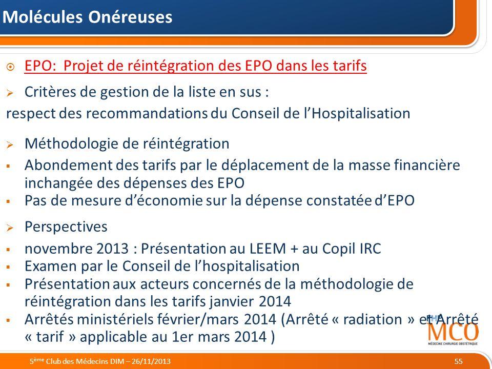 21/05/2014 EPO: Projet de réintégration des EPO dans les tarifs Critères de gestion de la liste en sus : respect des recommandations du Conseil de lHo