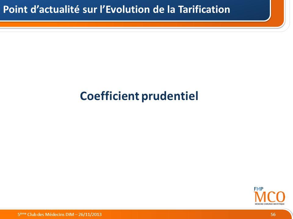 21/05/2014 Coefficient prudentiel Point dactualité sur lEvolution de la Tarification 565 ème Club des Médecins DIM – 26/11/2013