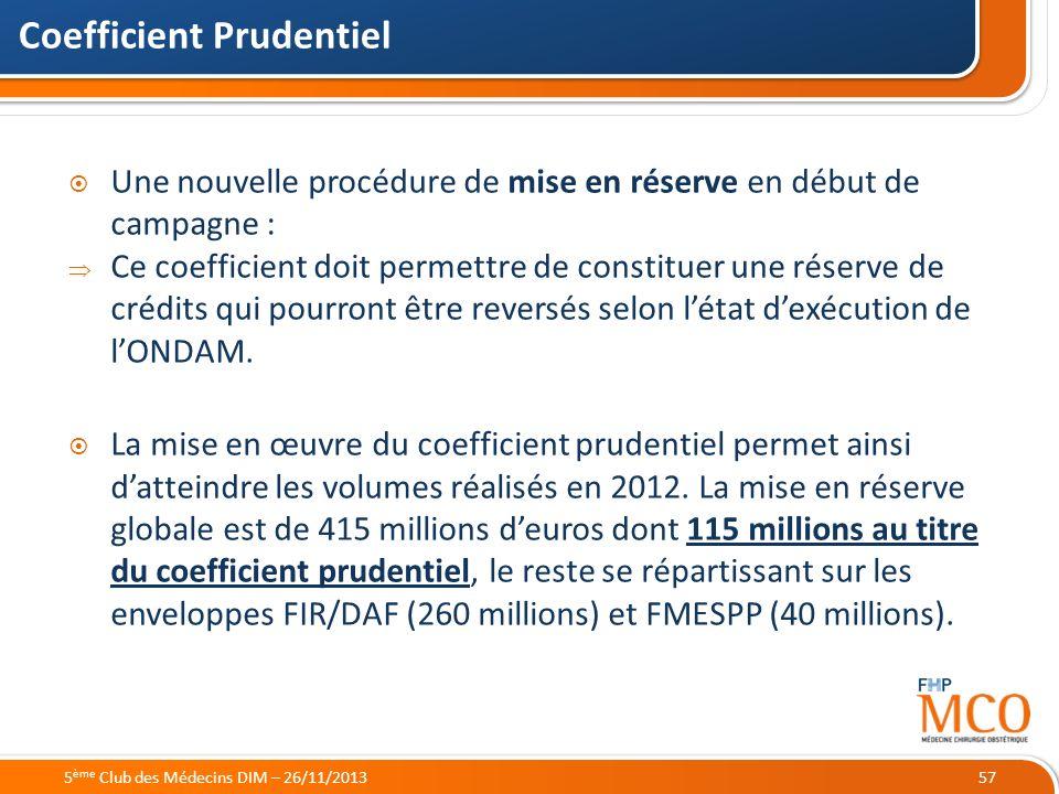 21/05/2014 Coefficient Prudentiel 57 Une nouvelle procédure de mise en réserve en début de campagne : Ce coefficient doit permettre de constituer une