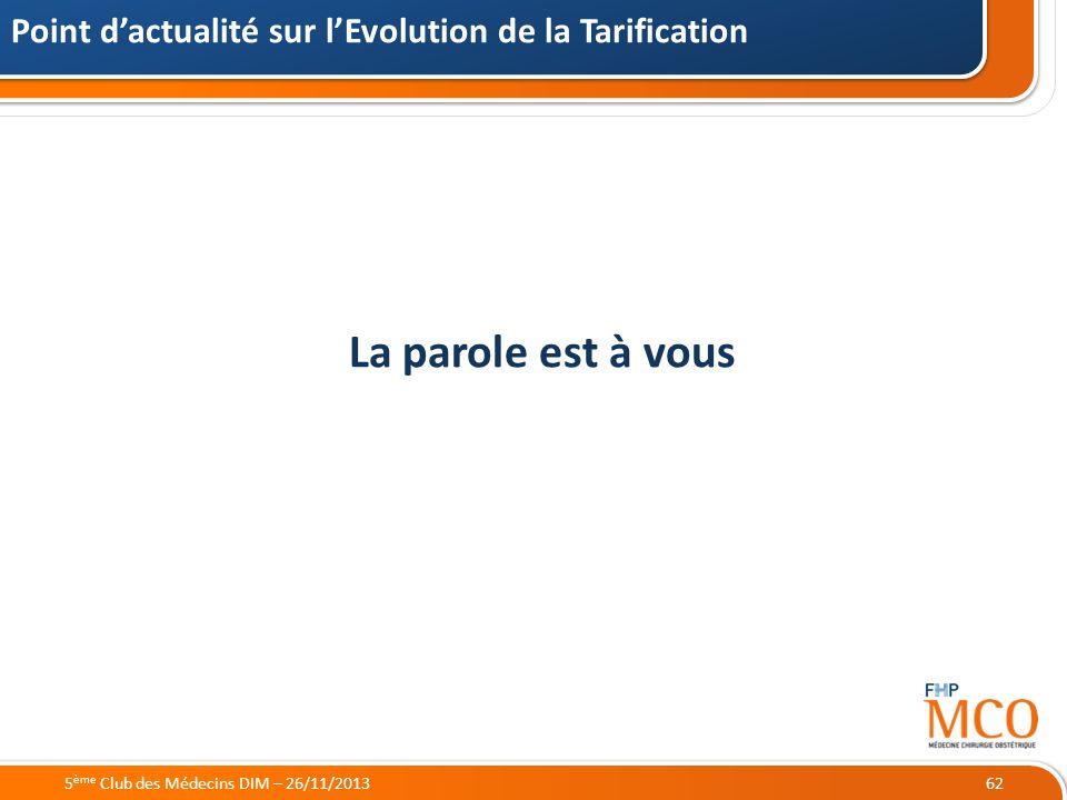 21/05/2014 La parole est à vous Point dactualité sur lEvolution de la Tarification 625 ème Club des Médecins DIM – 26/11/2013