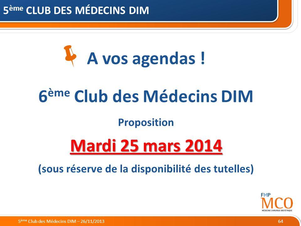 21/05/2014 64 5 ème CLUB DES MÉDECINS DIM A vos agendas ! 6 ème Club des Médecins DIM Proposition Mardi 25 mars 2014 (sous réserve de la disponibilité