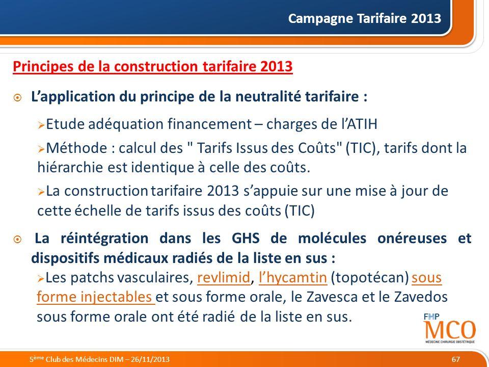 21/05/2014 Campagne Tarifaire 2013 67 Principes de la construction tarifaire 2013 Lapplication du principe de la neutralité tarifaire : Etude adéquati