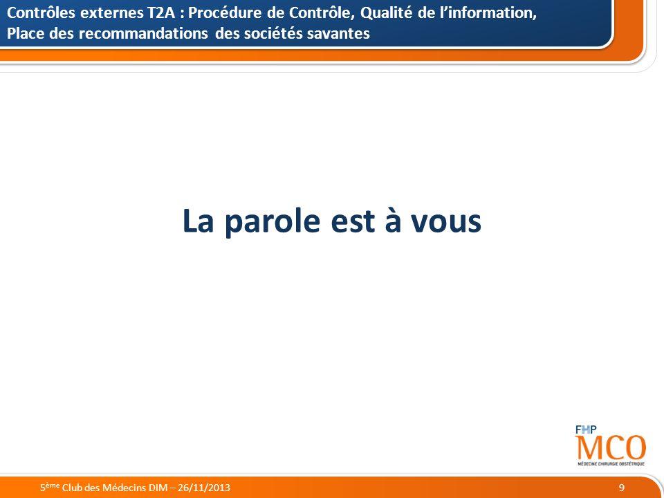 21/05/2014 La parole est à vous Contrôles externes T2A : Procédure de Contrôle, Qualité de linformation, Place des recommandations des sociétés savant