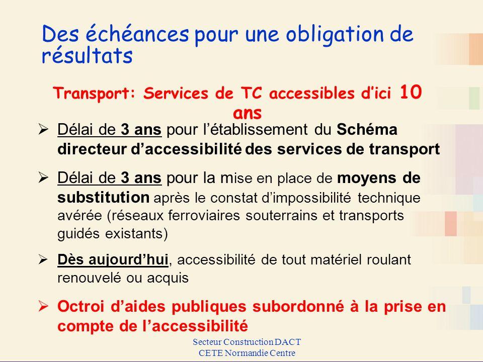 Secteur Construction DACT CETE Normandie Centre Des échéances pour une obligation de résultats Transport: Services de TC accessibles dici 10 ans Délai