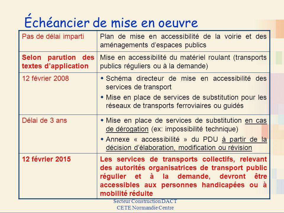 Secteur Construction DACT CETE Normandie Centre Échéancier de mise en oeuvre Pas de délai impartiPlan de mise en accessibilité de la voirie et des amé