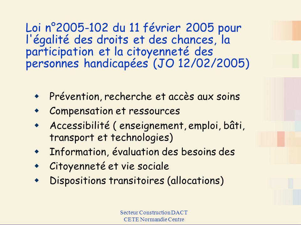 Secteur Construction DACT CETE Normandie Centre Loi n°2005-102 du 11 février 2005 pour l'égalité des droits et des chances, la participation et la cit