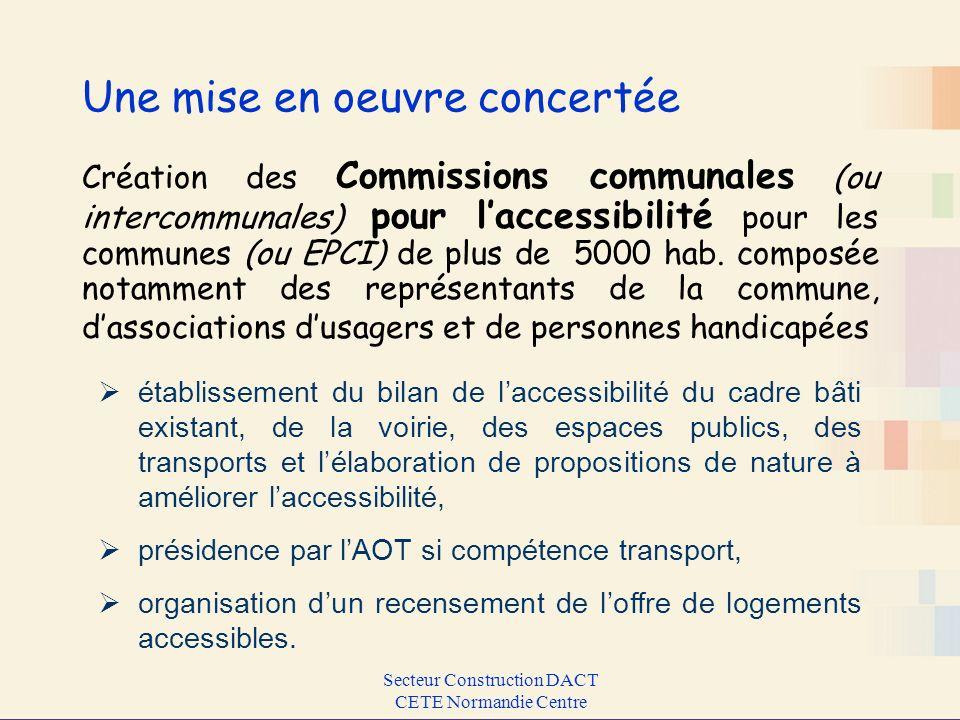 Secteur Construction DACT CETE Normandie Centre Une mise en oeuvre concertée Création des Commissions communales (ou intercommunales) pour laccessibil