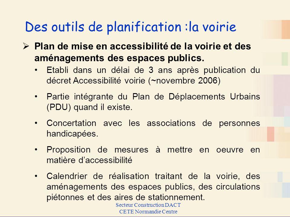 Secteur Construction DACT CETE Normandie Centre Des outils de planification :la voirie Etabli dans un délai de 3 ans après publication du décret Acces