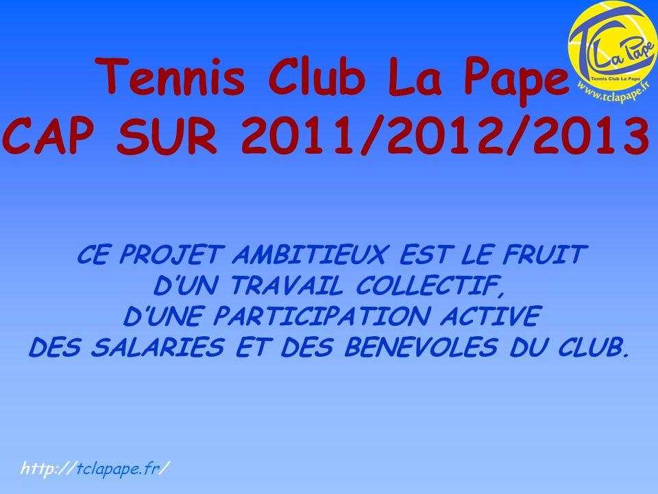 Tennis Club La Pape CAP SUR 2011/2012/2013 CE PROJET AMBITIEUX EST LE FRUIT DUN TRAVAIL COLLECTIF, DUNE PARTICIPATION ACTIVE DES SALARIES ET DES BENEVOLES DU CLUB.