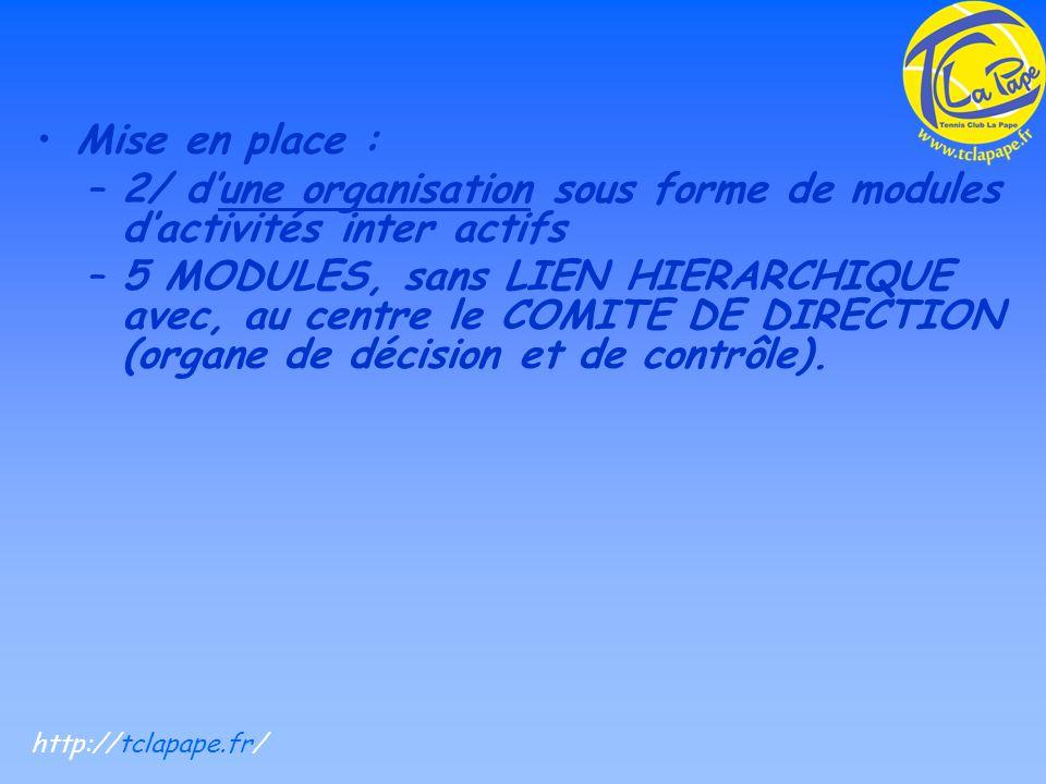 Mise en place : –2/ dune organisation sous forme de modules dactivités inter actifs –5 MODULES, sans LIEN HIERARCHIQUE avec, au centre le COMITE DE DIRECTION (organe de décision et de contrôle).