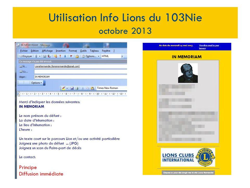 Utilisation Info Lions du 103Nie octobre 2013 Clic