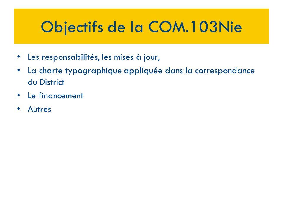 Les responsabilités, les mises à jour, La charte typographique appliquée dans la correspondance du District Le financement Autres Objectifs de la COM.