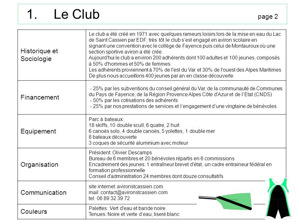 1.Le Club page 2 Historique et Sociologie Le club a été créé en 1971 avec quelques rameurs loisirs lors de la mise en eau du Lac de Saint Cassien par