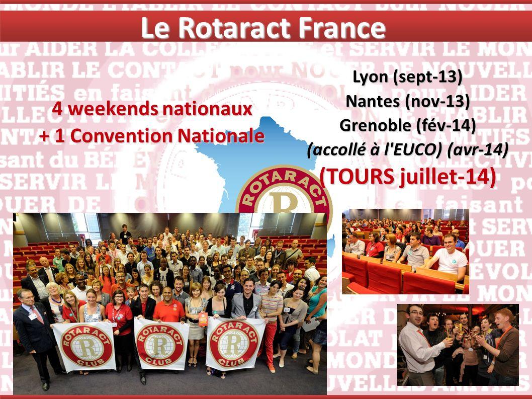 Le Rotaract France 4 weekends nationaux + 1 Convention Nationale Lyon (sept-13) Nantes (nov-13) Grenoble (fév-14) (accollé à l'EUCO) (avr-14) (TOURS j
