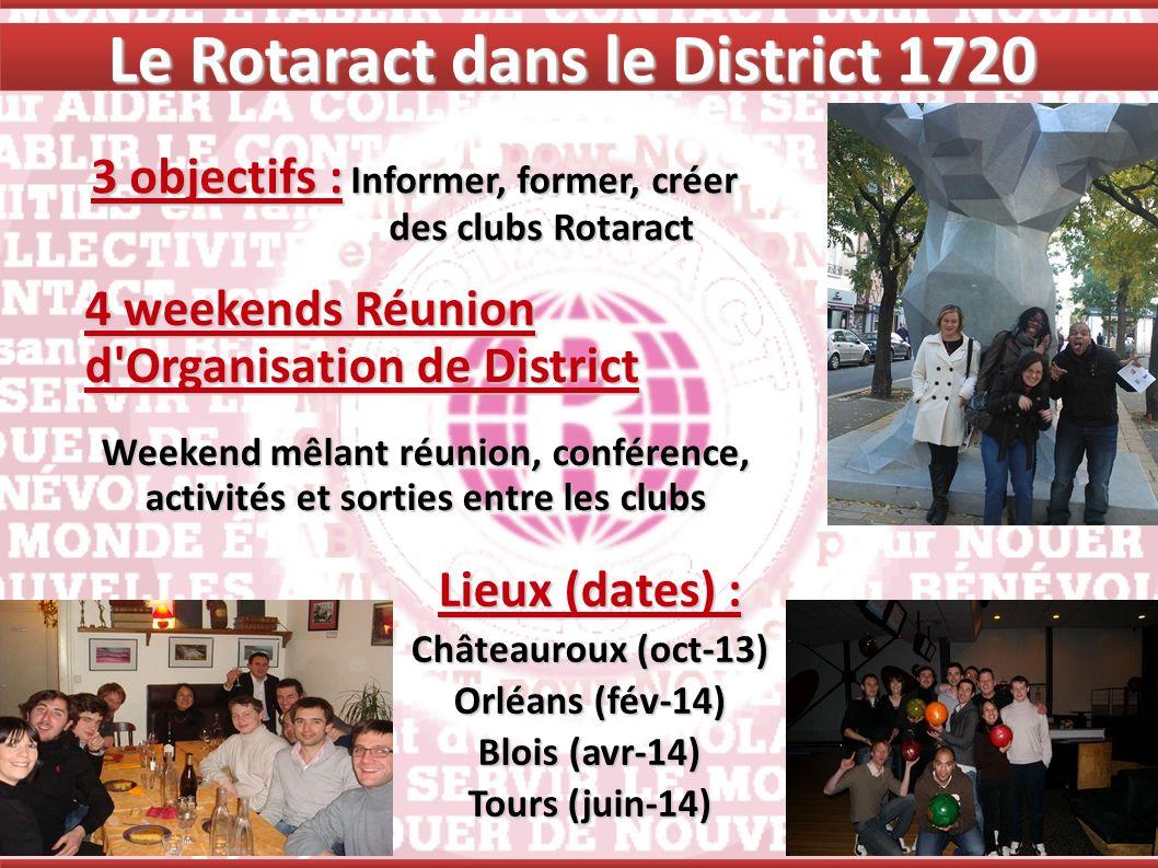Le Rotaract dans le District 1720 4 weekends Réunion d'Organisation de District Weekend mêlant réunion, conférence, activités et sorties entre les clu