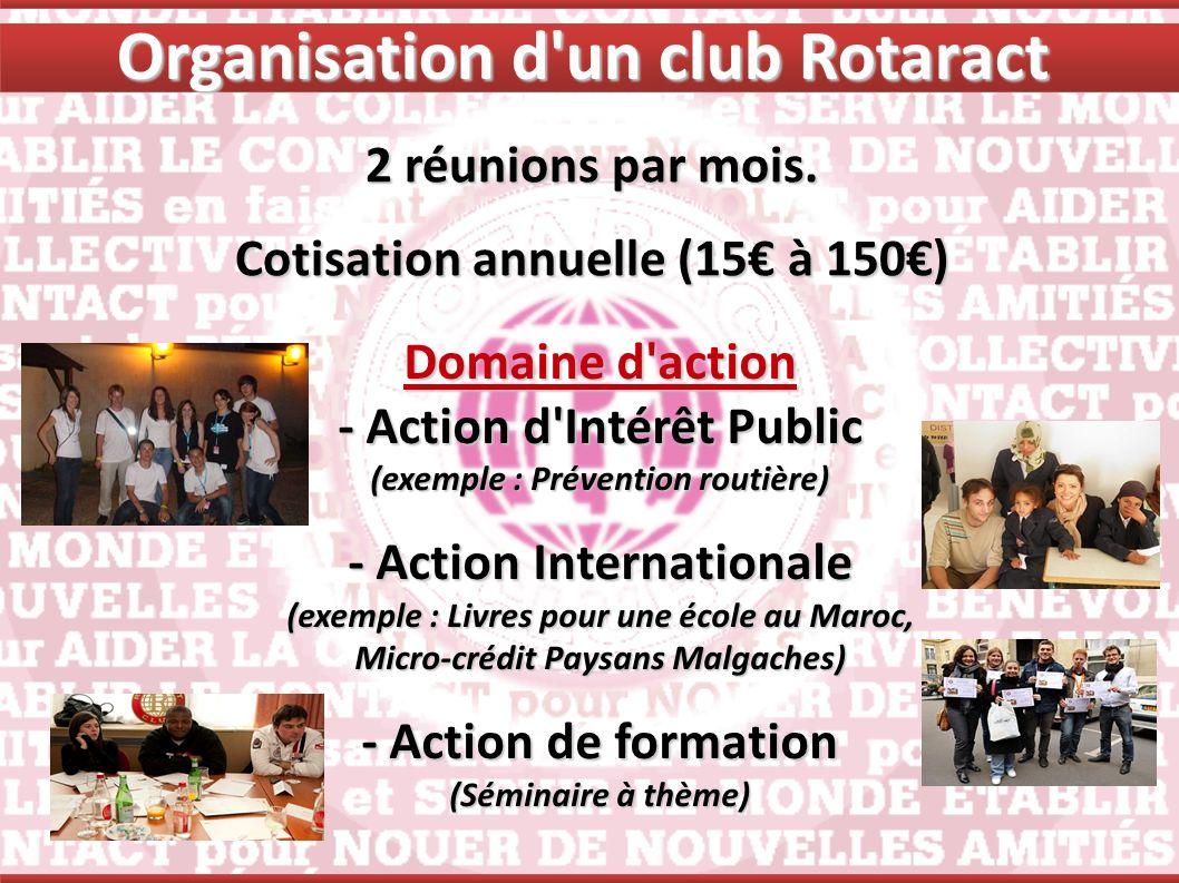 2 réunions par mois. Cotisation annuelle (15 à 150) Domaine d'action - Action d'Intérêt Public (exemple : Prévention routière) - Action Internationale