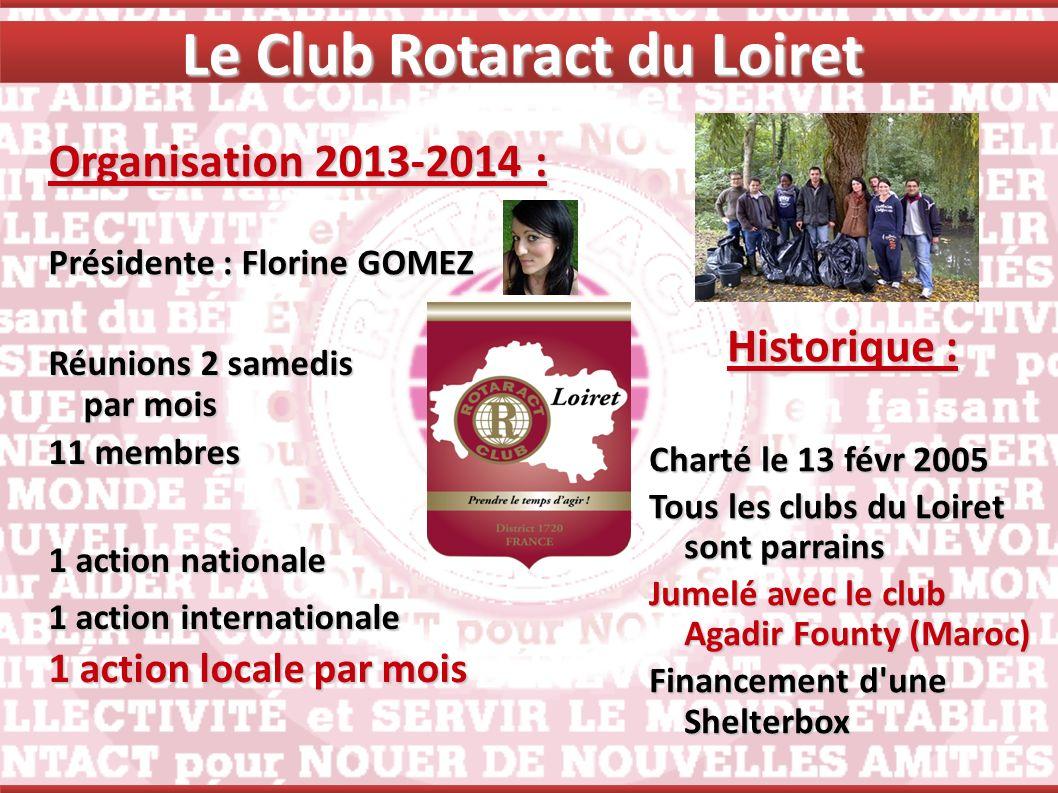 Le Club Rotaract du Loiret Organisation 2013-2014 : Présidente : Florine GOMEZ Historique : Charté le 13 févr 2005 Tous les clubs du Loiret sont parra