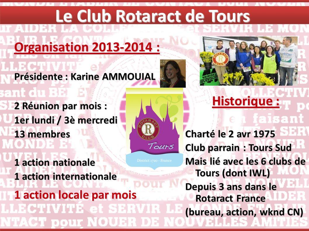 Le Club Rotaract de Tours Organisation 2013-2014 : Présidente : Karine AMMOUIAL Historique : Charté le 2 avr 1975 Club parrain : Tours Sud Mais lié av