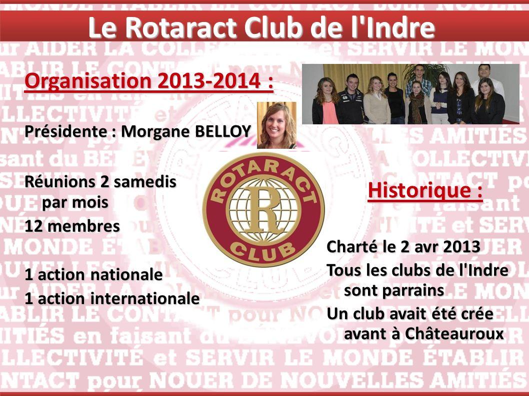 Le Rotaract Club de l'Indre Organisation 2013-2014 : Présidente : Morgane BELLOY Historique : Charté le 2 avr 2013 Tous les clubs de l'Indre sont parr