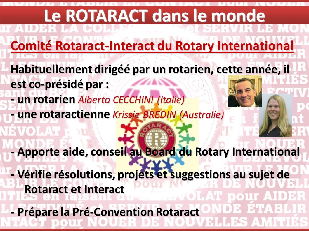 Comité Rotaract-Interact du Rotary International Habituellement dirigéé par un rotarien, cette année, il est co-présidé par : - un rotarien Alberto CE