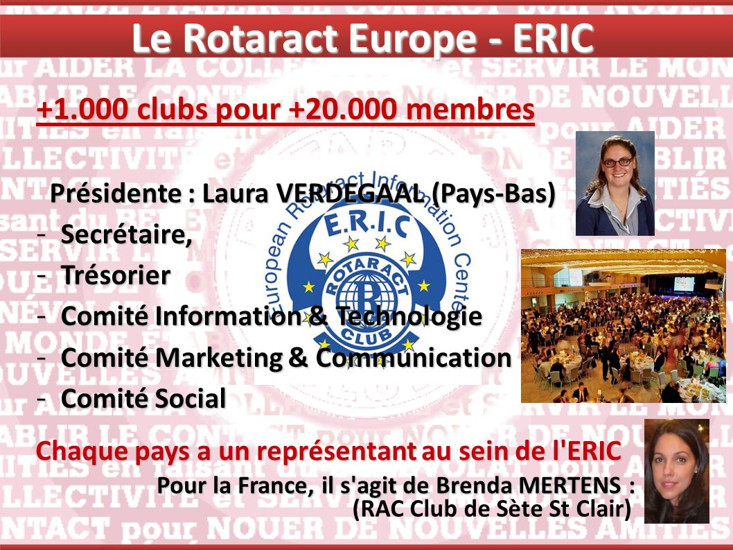 2 Rotaract European Meeting (REM) 1 European Convention (EUCO) Riga, Lettonie (oct-13) Zagreb, Croatie (jan-14) Nice (30 avril-4 mai ) Le Rotaract Europe - ERIC