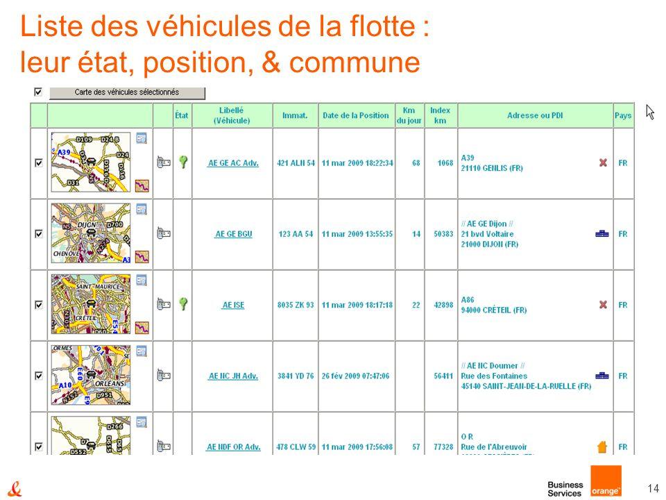 14 Liste des véhicules de la flotte : leur état, position, & commune
