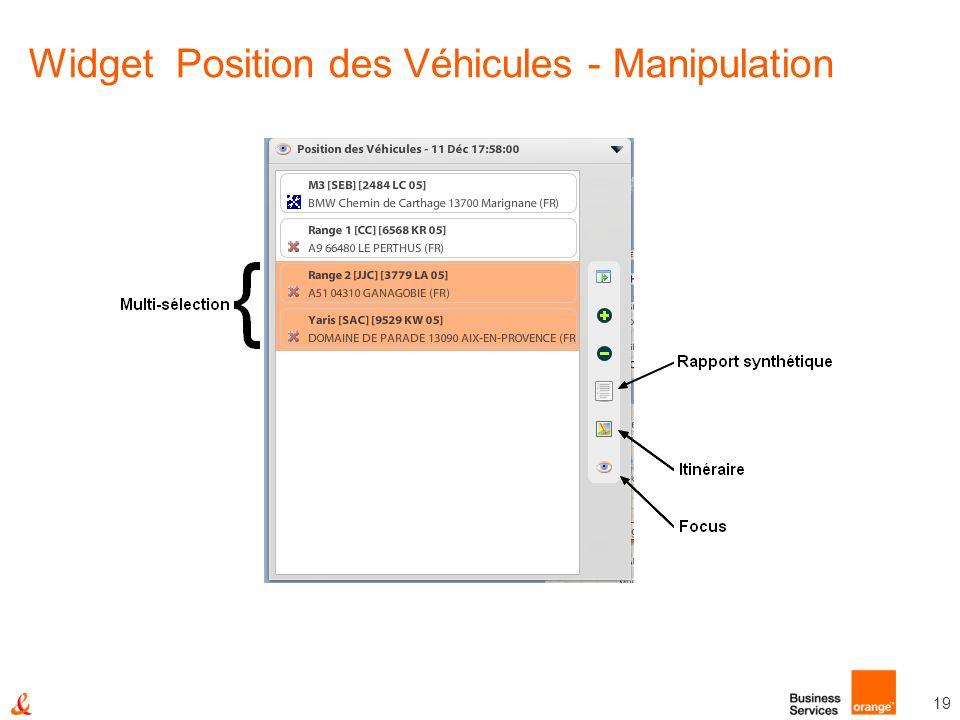 19 Widget Position des Véhicules - Manipulation
