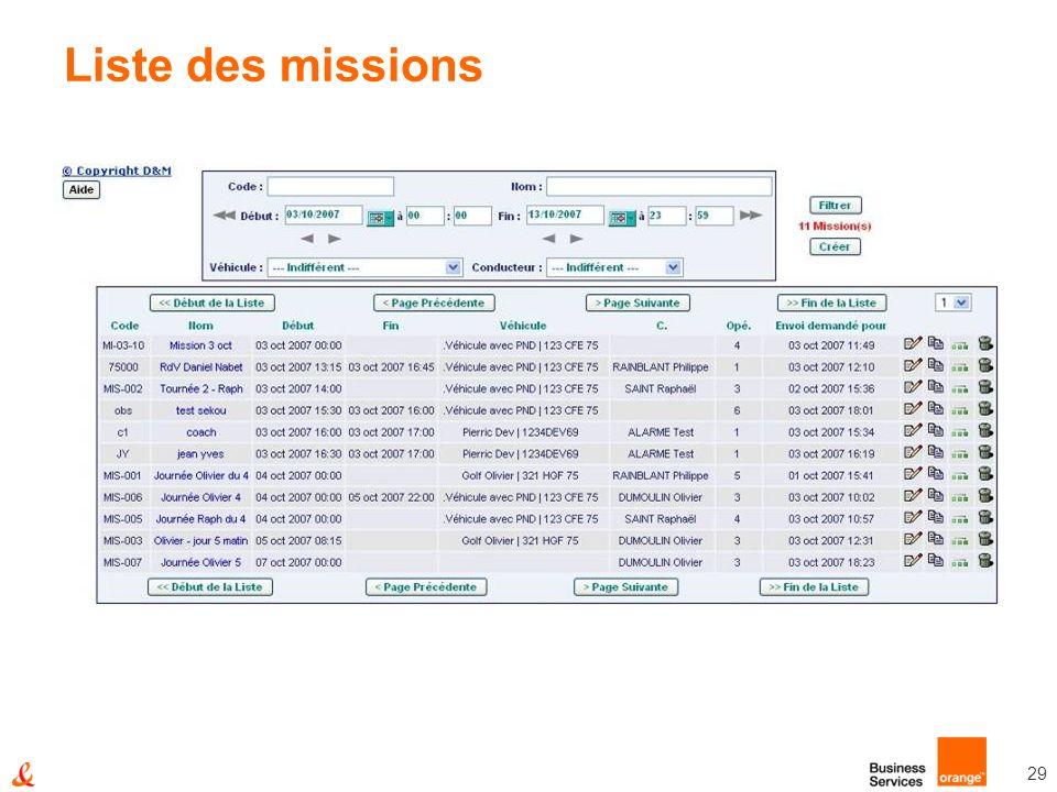 29 Liste des missions